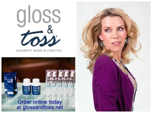 Gloss & Toss® model shows silky, shiny, radiant looking hair by using Gloss & Toss® shine serum.