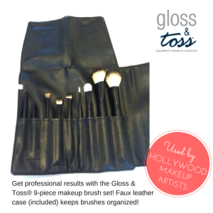 Get professional results with the Gloss & Toss 9-piece makeup set.