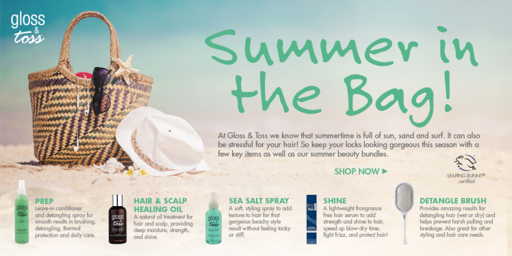 Gloss and Toss Summer In the Bag Website Banner